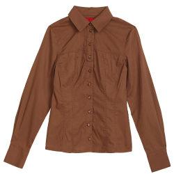 Dame-beiläufiger Formbrown-Polo-Hemd-Kragen (LSBO002)