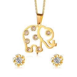 جميل فيل شكل صفّى نوع ذهب [جولّري] [ستينلسّ ستيل] مجوهرات يثبت مع زهرة دعامة حلق