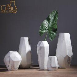 El color de mármol gris geométrica Floreros de cerámica con diferentes tamaños