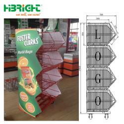 Cesto de arame de empilhamento de malha de arame suporte com placa de Publicidade