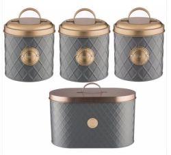4 pièces Boîte de rangement en acier galvanisé Caddy Canister
