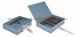 Buch-Form-blauer steifer Verpackungs-Kasten-Papierkasten-faltender Kasten mit Farbband-Abschluss