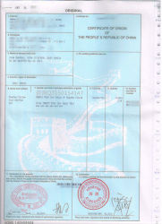El envío del certificado de exportación para el co, la forma-a, la forma-E, la fumigación