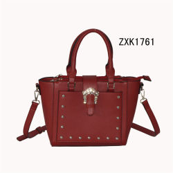 Bolsa de ombro poliuretano vermelho a mala com decoração em metal prateado (ZXK1761)