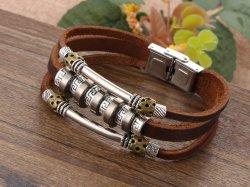 Américains et Européens Fashion Style Punk mot Retour Bracelet Cuir hommes tricotés bracelet cuir polyuréthane