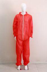 45 GSM одноразовые защитные износ рабочей одежды на заводе PP из красного цвета с застежкой на молнию одноразовые изоляции платье FDA утвержденных