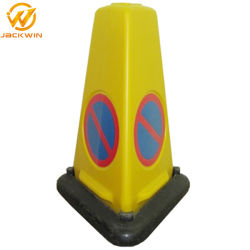 Triângulo de aviso PE Cone de tráfego com base em borracha