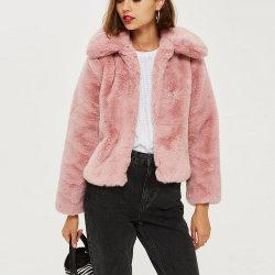 Cappotto esterno anteriore aperto di usura di stile della celebrità della pelliccia del Faux delle signore