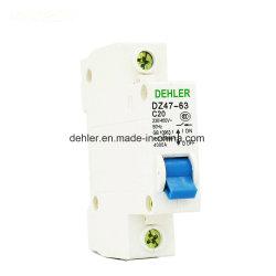 Dz47-63 C20 1p monofásico Interruptor de aire pequeños para el hogar el interruptor de corriente residual disyuntor de circuito abierto