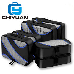 Verpackungs-Würfel-Gepäck-Komprimierung-Koffer-Set des Arbeitsweg-6PC mit Wäscherei-Toilettenartikel-Schuh-Beutel-Arbeitsweg-Organisator-Beutel