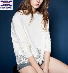 숙녀 모직 캐시미어 천 백색 느슨한 스웨터는 디자인 스웨터를 위로 끈으로 묶는다