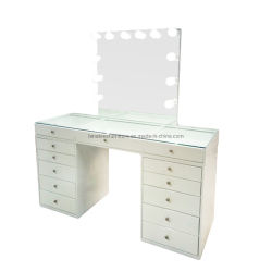El DT1084 de color blanco de la Vanidad Tocador maquillaje con espejo y lámparas de mesa