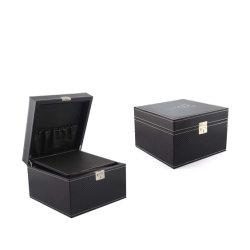 Armário de couro articulada bloqueado preto Cigar Humidor Caixa (8060)