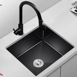 Barre noire balcon du dissipateur de lavabo en acier inoxydable 304 mini évier de cuisine à logement unique petite maison en vertu de compteur