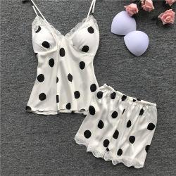 Sexy Dama de seda, encajes de dormir de 2 piezas Chaleco cortos trajes de noche se viste de Chica establece Pajamashot venta productos compradores16