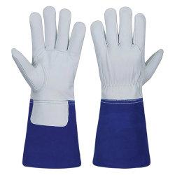 Correa de cuero de grano medio Moon-Shape posterior elástica guantes de soldadura TIG