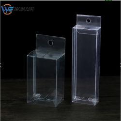 Ropa interior de plástico transparente de PVC envases PET PP cuadro de poliéster con Euro Gancho colgador Design