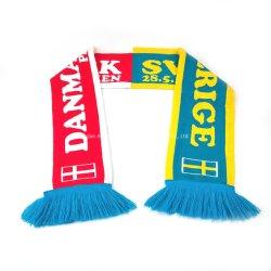 De lage OEM MOQ Sjaal van de Jacquard van de Ventilator van het Voetbal van de Voetbal van het Embleem van de Douane Artikelen Geweven Acryl met Uitstekende kwaliteit