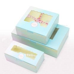 Kraft Paper Cupcake Packing Box with Window Cardboard Cake Muffin (クラフトペーパーカップケーキパッキングボックスと窓ボール紙ケーキのマ 結婚披露宴の誕生日の好意の工場クッキーのキャンデー箱 4 サイズ