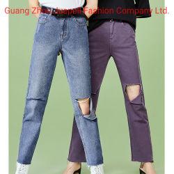 Niedrige MOQ kundenspezifische Form kleidet beiläufige Hosen mit Mädchen-Kleid-Denim Jean der Stickerei-Frauen