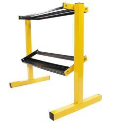 Balancfrom 2-Tier Easy - Grab Dumbbell Rack 가정용 체육관, 600파운드 용량, 옐로우/블랙 다용도 저장소 오거나이저