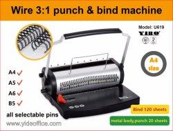Asa U Cable 3: 1 puñetazos y máquina de encuadernación de alambre doble anillo 3: 1 (U619)