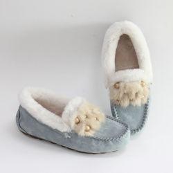 100% Real Sheepskin australiano en cuero de estilo italiano Moccasin zapatos para mujer