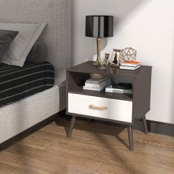Mobilia della camera da letto del tavolino da notte del Brown con 1 cassetto del tessuto