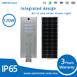 Tudo em Um LED 120W solar integrada luz de Rua