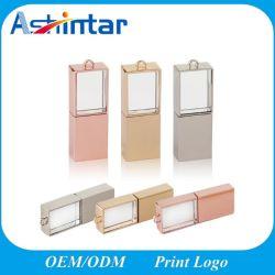Azionamento dell'istantaneo del USB di cristallo del bastone di memoria del USB dell'oro della Rosa del regalo di cerimonia nuziale