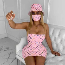 Abito da donna abito casual abito sexy Club vestito donna Designer Body Abbigliamento da donna Plus Size con cappello e copriviso