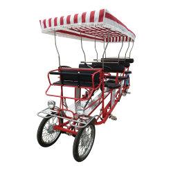 가족 탠덤 자전거 투어는 4륜 자전거(성인 4)를 사용했습니다 사람 서리 자전거