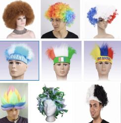 Festival partie colorée de fournitures synthétiques Perruques Perruques Afro ventilateurs