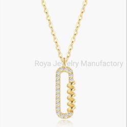 18K 금에 의하여 뒤틀리는 디자인 다이아몬드 목걸이 과료 보석