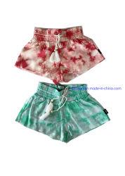 100% Rayon Tie-Dyed Calções tecidos da menina de impressão