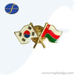 Настраиваемый логотип сувенирные флаг штифты Металлический бейдж эмаль эмблемы национальных петличный штифты