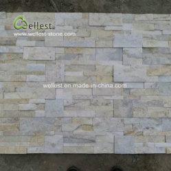 Nature de quartzite blanc beige Pierre de la culture de panneaux muraux empilés