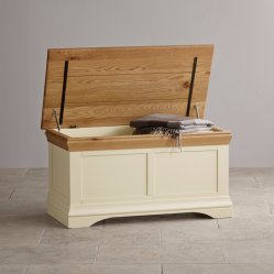Pintado de blanco, madera maciza de roble Manta Caja de almacenamiento