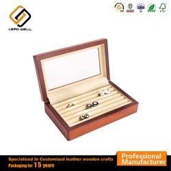Caixa de Embalagem Cufflink de madeira com Limpar Janela Superior Caixa de oferta