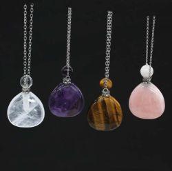 Piedra natural de cuarzo rosa Botella de Perfume colgantes Brecciated Jasper Fancy Amatista de piedras Joyería Colgante Collar de encanto para hacer