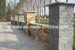 Природных зеленый/желтый Slate колонки / конкретные культуры камня стойки проема ветрового стекла