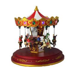Festival Polyresin Santa Clause Carousel Décoration de Noël avec la boîte à musique