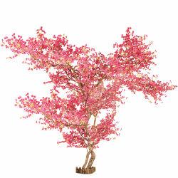 4m Höhen-Büro-Hochzeits-Festival-Dekor-natürliches hölzernes Kabel-Rosa-künstlicher Pfirsich-Blüten-Baum für Wand-Dekoration