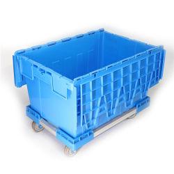 接続されたふたが付いているスタックおよびネストのプラスチック移動容器の輸送