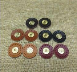 Circle a SEW-na carteira de travamento magnético de couro genuíno Bag Botões elástico DIY Manta de acessórios de bloqueio