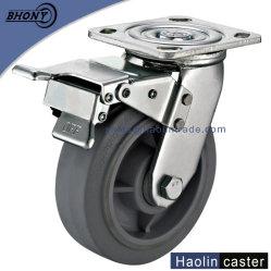 100mmロード180kgブレーキが付いている頑丈な極度のTPR旋回装置の車輪の足車