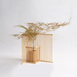 La pantalla de tejido de bambú natural creativo Jarrón de flores
