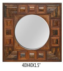 American Art Dé Cor Brown Wood Wall Square Mirror LH-190421