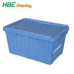 Boîte de rangement en plastique empilables récipient avec couvercle à charnière