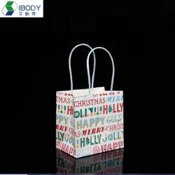Delicada Kraft Branco coloridas impressas Saco de presentes de Natal Definir Pacote artesanais de bolsa com alça trançado papel prontos para envio